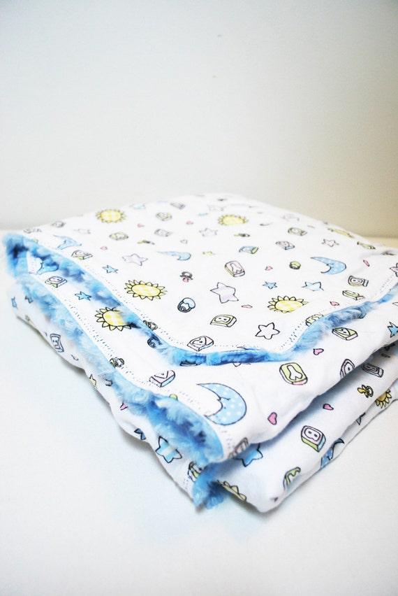 Baby Blanket.  Sun Moon Stars Fuzzy Swirl