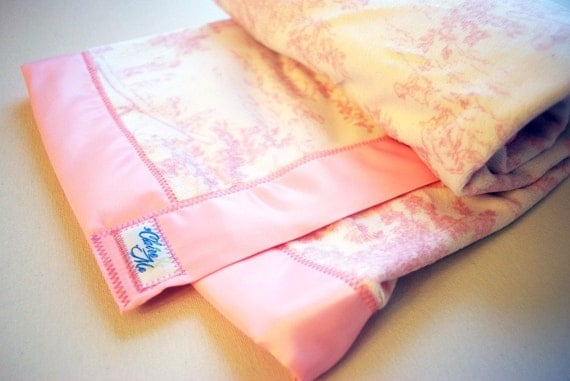 Baby Girl Blanket featuring Pink Toile Minky Fabric - Made to Order