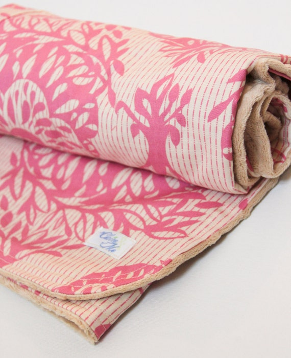 Baby Blanket Pink and Natural with Anna Maria Horner and Minky Fabric