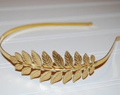 Garden Leaf Golden Greek Goddess Headband Gold Plated Great Gift!