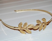 Garden Petite Golden Branches Leaf Greek Goddess Headband Gold Plated