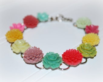 Candy Colored Petite Flower Garden Party Bracelet