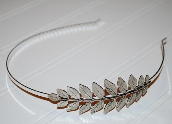Garden Leaf Silver Greek Goddess Headband Silver Plated