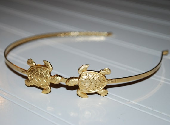 Whimsical Sea Turtles Golden Headband Gold Plated