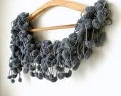 Dark Grey-Cocoon, Curly Mulberry- Ponpon Extra long Scarf- Grey, grey, grey