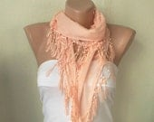 Light Pastel Coral %100 Cotton Spring Scarf with Lace