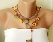 Orange, brown, green and orange bead flower Necklace, Lariat, Bracelet - Turkish lace Work-OOAK