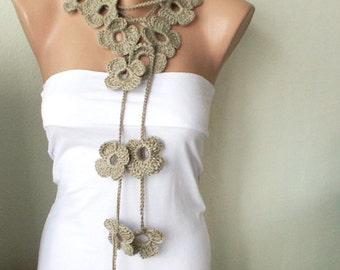 SALE-Flower Scarf Handmade Crochet Beige Flower Lariat, Scarf, Necklace