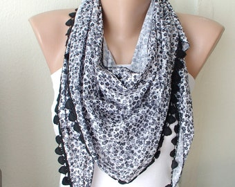 Grey black flower dancing with lace scarf