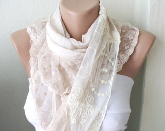Beige  Scarf, Cotton Scarf, Ruffle Scarf, Tulle Scarf, Christmas Gift