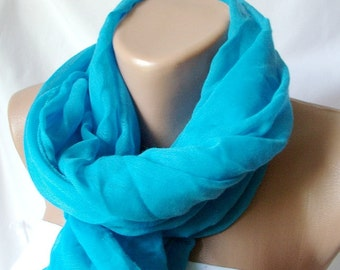 Blue sea blue Cotton Spring Scarf