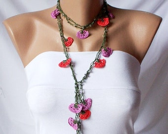 Red, Pink and green Lace flower Necklace, Lariat, Bracelet - Turkish lace Work