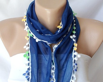 Cotton Scarf, Dark Blue bandana, headband  with Small, colorful, Pompom Scarf
