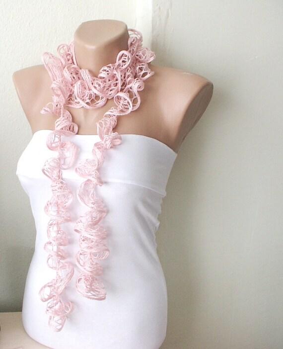 Powder pastel pink Dream Color Web lace Handmade Crochet Scarf