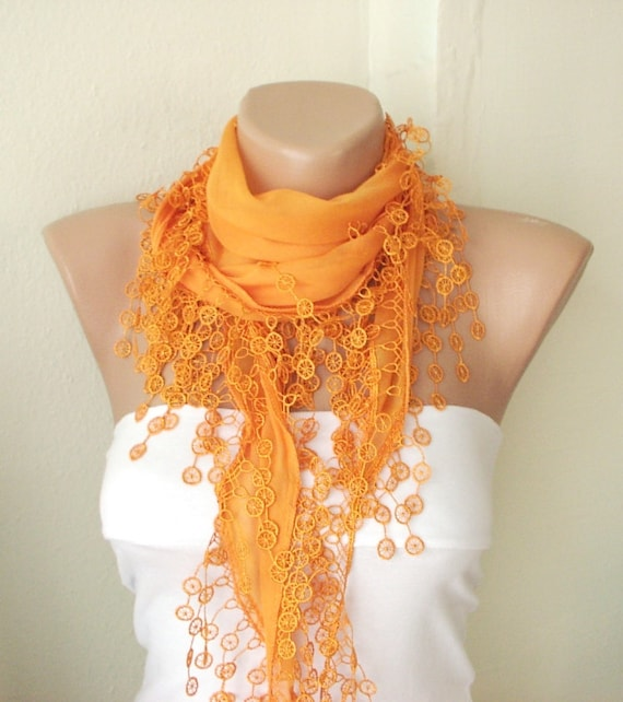MOTHER'S DAY 25% SALE - Orange, mandarin, spring color  Cotton Scarf with Tassel Lace