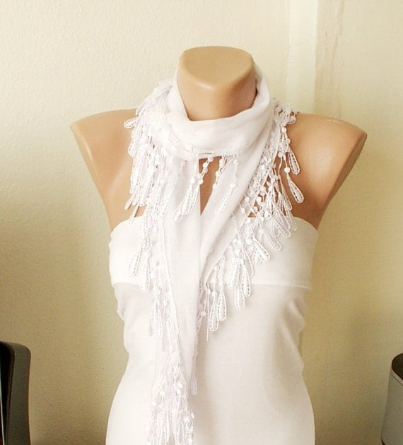 White Cotton Scarf with Lace