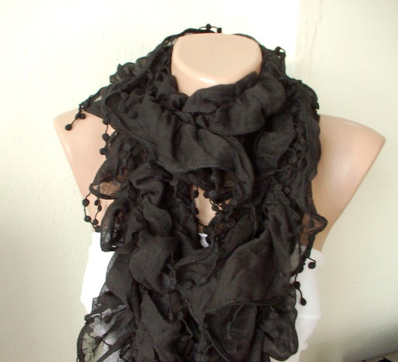 Black Color Ruffle Scarf from %100 coton with pompom lace