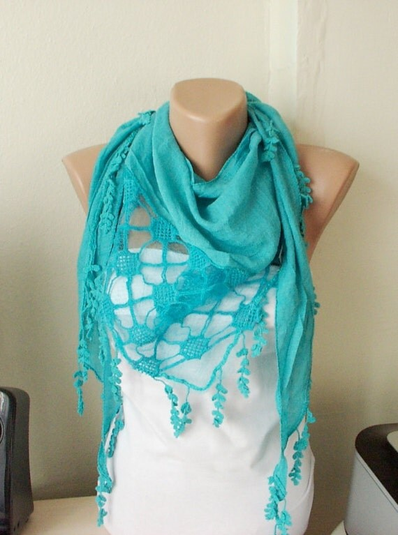 Turquoise -Cotton Scarf -Pine leaf -Tassel Scarf-Lace Scarf
