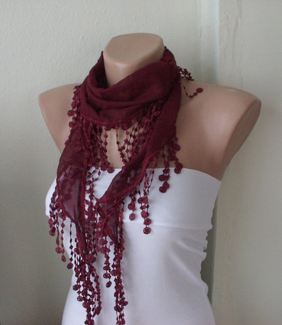 MOTHER'S DAY 25% SALE - Spring Dark Red Cotton Spring Scarf with Lace