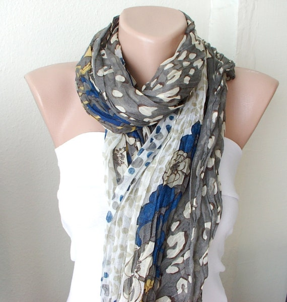 NEW 2012 Spring Model brown, camel, saffon, blue dotted color Cotton Long Scarf with wrinkle