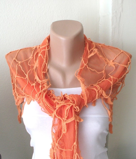 Lace Scarf, WEB Model Scarf, Orange Scarf, Tulle Scarf with leaf