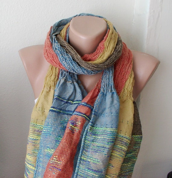 Saffron, orange, blue mixcolor   Long Scarf, Shawl with wrinkle