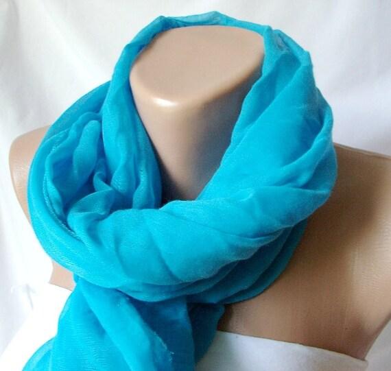 Blue sea blue Cotton Spring Scarf