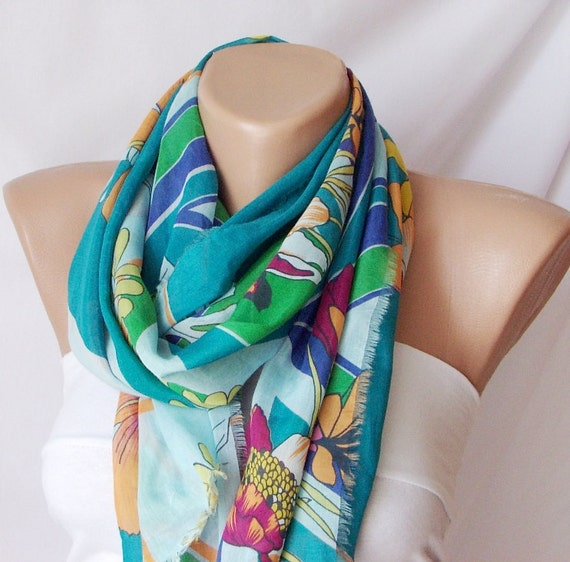 Cotton Scarf - Spring Scarf - Colorful Floral Rectangle