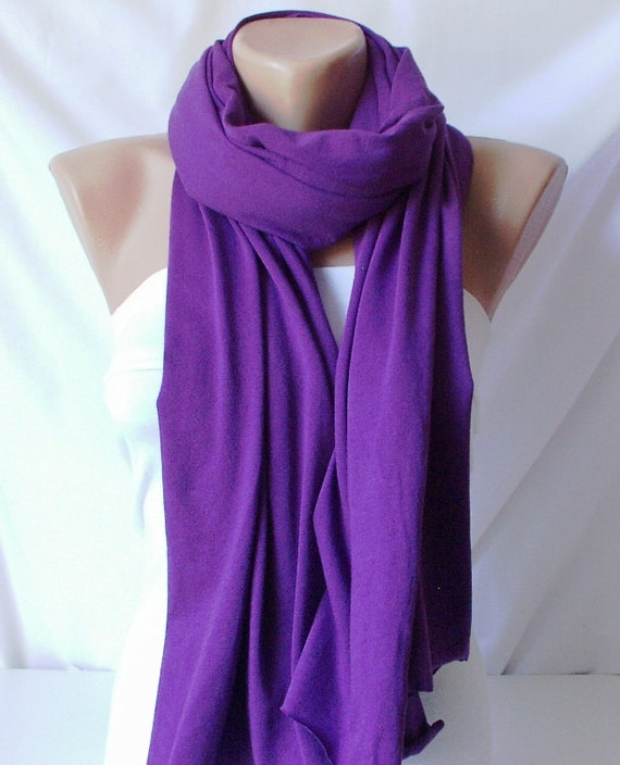 cotton scarf jersey scarf plum purple scarf by periay on etsy
