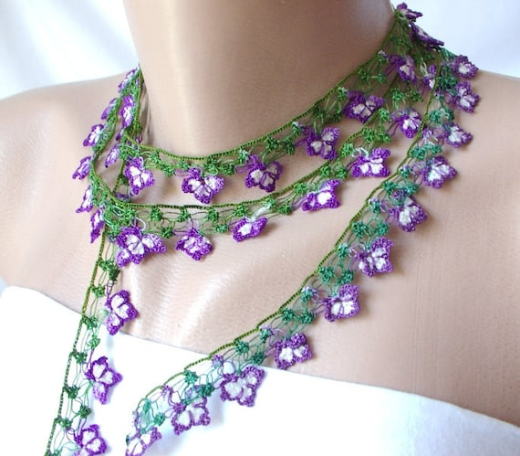 Violet DREAM- Violet, white and green Lace flower Necklace, Lariat, Bracelet - Turkish lace Work