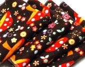 FREE OFFER Child Reusable Cloth Napkins / Wipes - Set of 4- Groovy Mushroom Garden
