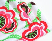 FREE OFFER Child Reusable Cloth Napkins / Wipes - Set of 4- Vines and Flowers Pink / Lime