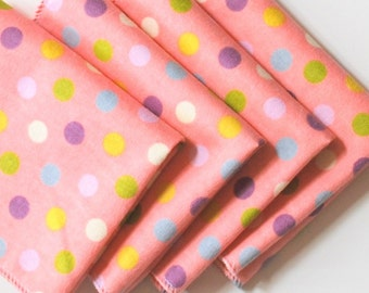 FREE OFFER Child Reusable Cloth Napkins / Wipes- Set of 4- Pink Disco Dots
