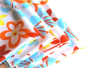 FREE OFFER Child Reusable Cloth Napkins / Wipes- Set of 4- Tropical Flowers