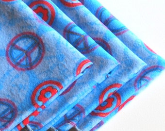 FREE OFFER Child Size Reusable Cloth Napkins / Wipes- Set of 4- Blue Peace