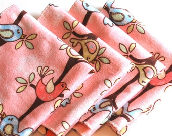 FREE OFFER Child Reusable Cloth Napkins / Wipes - Set of 4- Sweet Song Birds