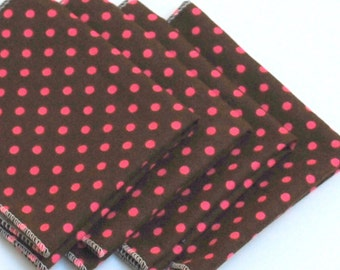 FREE OFFER Child Reusable Cloth Napkins / Wipes - Set of 4- Tiny Dots Brown / Pink