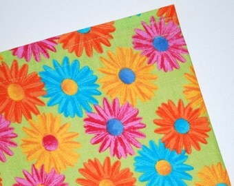 FREE OFFER Reusable All Cotton Snack Bag / Tote with Handle - Bright Daisies
