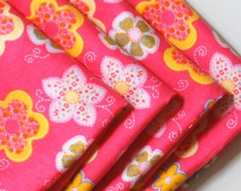 FREE OFFER Child Reusable Cloth Napkins / Wipes- Set of 4- Flower Patch