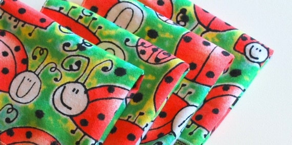 FREE OFFER Child Reusable Cloth Napkins / Wipes - Set of 4- Ladybugs