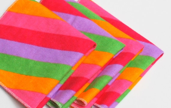 FREE OFFER Child Reusable Cloth Napkins / Wipes - Set of 4- Candy Stripes