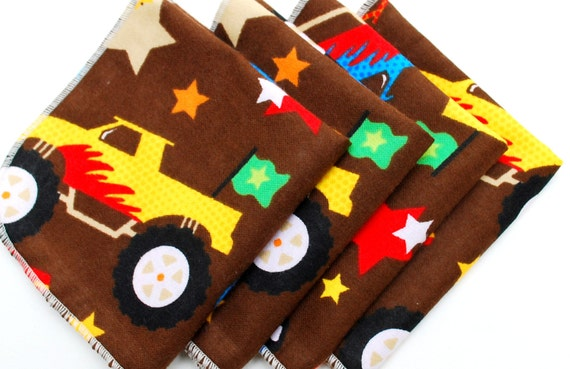 FREE OFFER Child Reusable Cloth Napkins / Wipes - Set of 4- Car Crusher