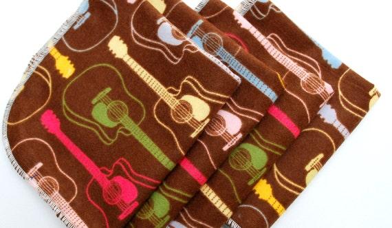 FREE OFFER Child Reusable Cloth Napkins / Wipes - Set of 4- Guitars