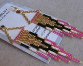 Beaded Contemporary Native American Chain Earrings - Hot Pink/Black/Cream