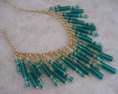 Price Reduction - Bib Necklace - Emerald Green
