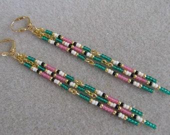 Seed Bead Earrings - Green/Pink/Cream/Black