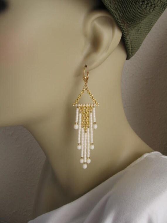 Seed Bead And Chain Dangle Earrings - Cream