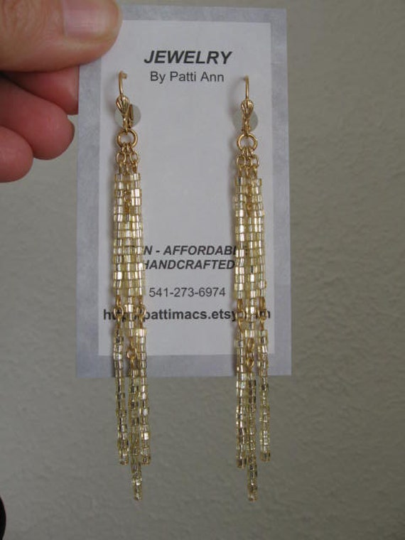 Beaded Dangle Chain Earrings - Golden