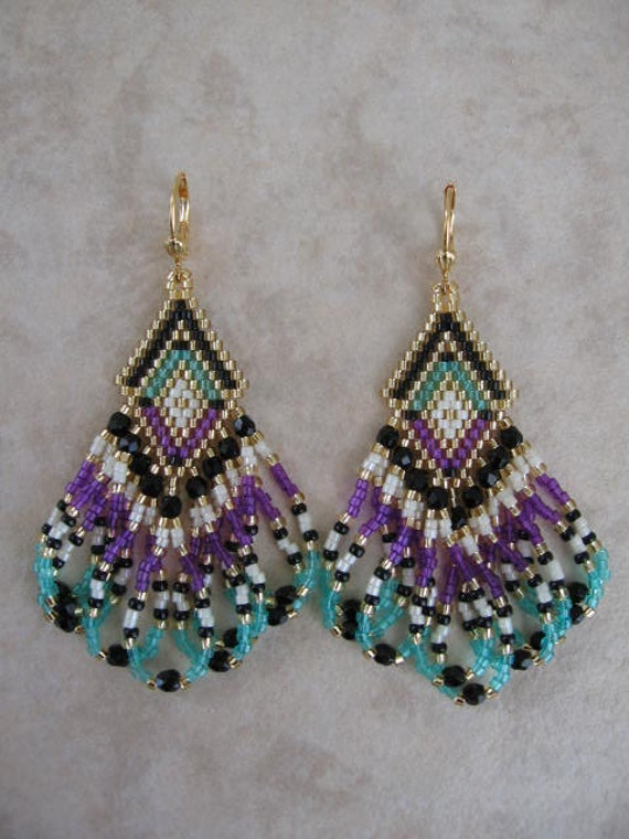 seed bead earrings violet minty aqua black free