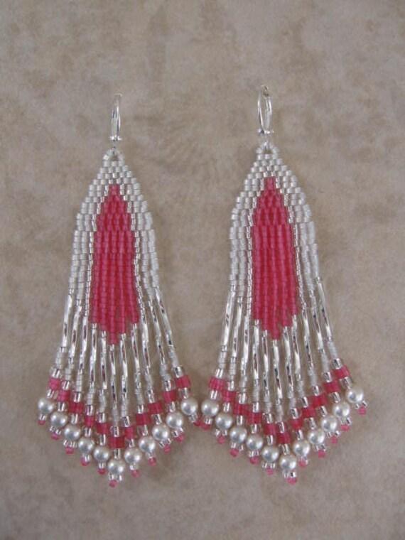 Seed Bead Earrings - Beadwoven - Pink/Silver